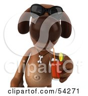Royalty Free RF Clipart Illustration Of A 3d Brown Pooch Character Wearing Sunglasses And Sipping A Beverage Pose 1