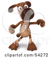 Royalty Free RF Clipart Illustration Of A 3d Brown Pooch Character Doing His Happy Dance Pose 2 by Julos