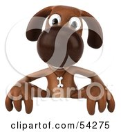 Royalty Free RF Clipart Illustration Of A 3d Brown Pooch Character Standing Behind A Blank Sign by Julos