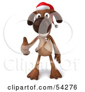 Royalty Free RF Clipart Illustration Of A 3d Brown Pooch Character Waring A Santa Hat And Giving The Thumbs Up Pose 1
