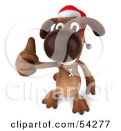 Royalty Free RF Clipart Illustration Of A 3d Brown Pooch Character Waring A Santa Hat And Giving The Thumbs Up Pose 3 by Julos