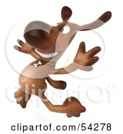 Royalty Free RF Clipart Illustration Of A 3d Brown Pooch Character Jumping by Julos