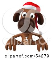 Royalty Free RF Clipart Illustration Of A 3d Brown Christmas Pooch Character Behind A Blank Sign by Julos