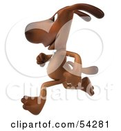 Royalty Free RF Clipart Illustration Of A 3d Brown Pooch Character Running Left by Julos