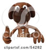Royalty Free RF Clipart Illustration Of A 3d Brown Pooch Character Giving The Thumbs Up And Standing Behind A Blank Sign by Julos