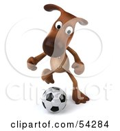 Royalty Free RF Clipart Illustration Of A 3d Brown Pooch Character Playing Soccer Pose 3