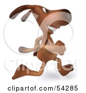 Royalty Free RF Clipart Illustration Of A 3d Brown Pooch Character Running Right by Julos