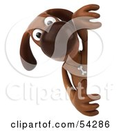 3d Brown Pooch Character Looking Around A Sign