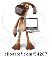Royalty Free RF Clipart Illustration Of A 3d Brown Pooch Character With A Laptop Pose 1