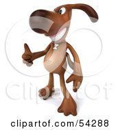 Royalty Free RF Clipart Illustration Of A 3d Brown Pooch Character Giving The Thumbs Up Pose 2 by Julos