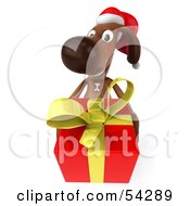 Royalty Free RF Clipart Illustration Of A 3d Brown Pooch Character Carrying A Christmas Gift Pose 2 by Julos