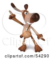 Royalty Free RF Clipart Illustration Of A 3d Brown Pooch Character Doing His Happy Dance Pose 1 by Julos