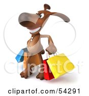 Royalty Free RF Clipart Illustration Of A 3d Brown Pooch Character Carrying Shopping Bags Version 3 by Julos