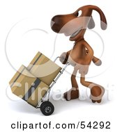 Royalty Free RF Clipart Illustration Of A 3d Brown Pooch Character Moving Boxes With A Hand Truck Pose 2
