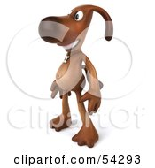 Royalty Free RF Clipart Illustration Of A 3d Brown Pooch Character Standing And Facing Left by Julos