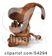 Royalty Free RF Clipart Illustration Of A 3d Brown Pooch Character Meditating Pose 4 by Julos
