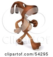 Royalty Free RF Clipart Illustration Of A 3d Brown Pooch Character Walking Right by Julos