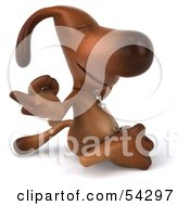 Royalty Free RF Clipart Illustration Of A 3d Brown Pooch Character Meditating Pose 2 by Julos