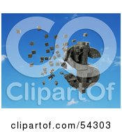 Royalty Free RF Clipart Illustration Of A 3d Dollar Symbol Made Of Stone Blocks Particles Floating Version 5