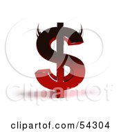 Royalty Free RF Clipart Illustration Of A 3d Devil Dollar Symbol With Horns Version 4