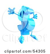 Jumping 3d Blue Dollar Symbol With Arms And Legs