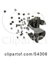 Royalty Free RF Clipart Illustration Of A 3d Dollar Symbol Made Of Stone Blocks Particles Floating Version 2 by Julos