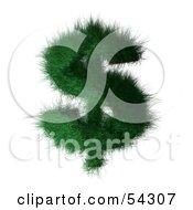 3d Grassy Green Dollar Symbol