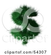 Royalty Free RF Clipart Illustration Of A 3d Grassy Green Dollar Symbol