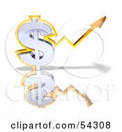 Royalty Free RF Clipart Illustration Of A 3d Orange Arrow Forming Around A Dollar Symbol Version 3 by Julos
