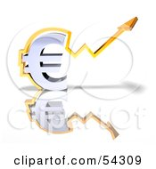 Royalty Free RF Clipart Illustration Of A 3d Chrome Euro Symbol With An Arrow Forming Around It Version 3 by Julos