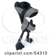 Royalty Free RF Clipart Illustration Of A 3d Black Lab Pooch Character Giving The Thumbs Up Pose 2