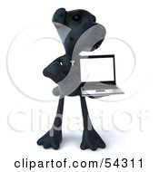 Royalty Free RF Clipart Illustration Of A 3d Black Lab Pooch Character With A Laptop Version 4