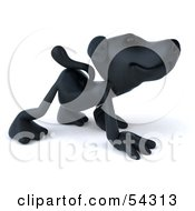 Royalty Free RF Clipart Illustration Of A 3d Black Lab Pooch Character Walking On All Fours