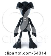 3d Black Lab Pooch Character Standing And Facing Front