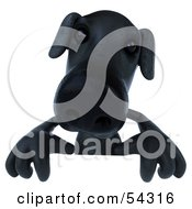 Royalty Free RF Clipart Illustration Of A 3d Black Lab Pooch Character Standing Behind A Blank Sign