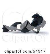 Royalty Free RF Clipart Illustration Of A 3d Black Lab Pooch Character Reclined