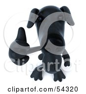 Royalty Free RF Clipart Illustration Of A 3d Black Lab Pooch Character Giving The Thumbs Up Pose 3