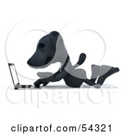 Royalty Free RF Clipart Illustration Of A 3d Black Lab Pooch Character With A Laptop Version 1