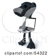 Royalty Free RF Clipart Illustration Of A 3d Black Lab Pooch Character With A Laptop Version 5