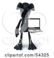 3d Black Lab Pooch Character With A Laptop Version 3