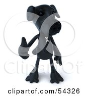 Royalty Free RF Clipart Illustration Of A 3d Black Lab Pooch Character Giving The Thumbs Up Pose 1