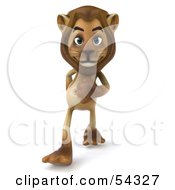 Royalty Free RF Clipart Illustration Of A 3d Lion Character Walking Forward