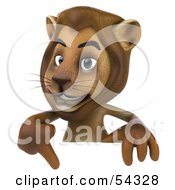3d Lion Character Pointing To And Standing Behind A Blank Sign by Julos