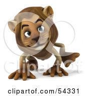 Royalty Free RF Clipart Illustration Of A 3d Lion Character Walking On All Fours Pose 2