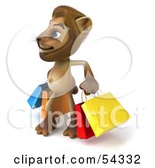 Royalty Free RF Clipart Illustration Of A 3d Lion Character Carrying Shopping Bags Pose 2