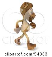 Royalty Free RF Clipart Illustration Of A 3d Lion Character Walking To The Right