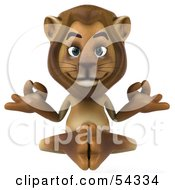 Royalty Free RF Clipart Illustration Of A 3d Lion Character Meditating Pose 1