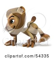 Royalty Free RF Clipart Illustration Of A 3d Lion Character Walking On All Fours Pose 1