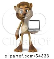 Royalty Free RF Clipart Illustration Of A 3d Lion Character Presenting A Laptop Pose 1