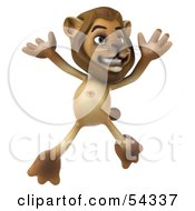 Royalty Free RF Clipart Illustration Of A 3d Lion Character Jumping Pose 1